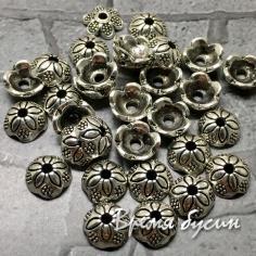 Шапочки для бусин, цв. серебро, 7 мм (5 гр., ок. 11 шт.)