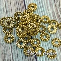 Разделители для бусин под золото, 6х2 мм (5 гр., ок. 28 шт.)