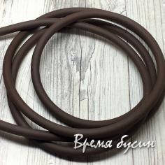 Шнур резиновый полый, 4 мм, цв.  шоколадный   (1 м.)