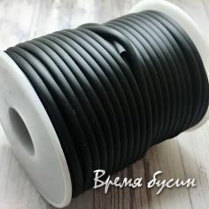 Шнур резиновый полый, чёрный, 3х1.5 мм (1 м.)