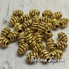 Разделители для бусин под золото, 3х5 мм  (5 гр., ок. 20 шт.)
