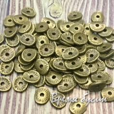 Разделители для бусин под бронзу, 5х6 мм  (5 гр., ок. 40 шт.)