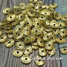 Разделители для бусин под золото, 6х5 мм (5 гр., ок. 40 шт.)