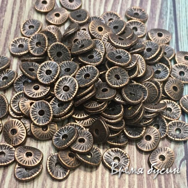 Разделители для бусин под медь, 5х6 мм  (5 гр., ок. 40 шт.)