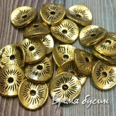 Разделители для бусин под золото, 10х9 мм (5 гр., ок. 9 шт.)