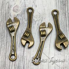 Ключ, подвеска металлическая цв. бронза, 24х7х3мм (1 шт.)