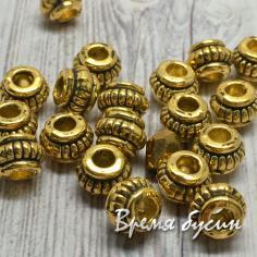 Разделители для бусин под золото, 4х6 мм  (5 гр., ок. 8 шт.)