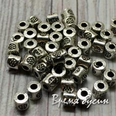 Разделители для бусин под серебро, 3х3 мм  (5 гр., ок. 40 шт.)