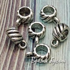 Бейл металлический, подходит для браслетов пандора, 10х7 мм, цв. СЕРЕБРО (1 шт.)