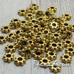 Разделители для бусин под золото, 3х3 мм  (5 гр., ок. 95 шт. )