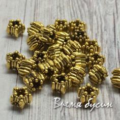 Разделители для бусин под золото, 5х5 мм  (5 гр., ок. 16 шт.)