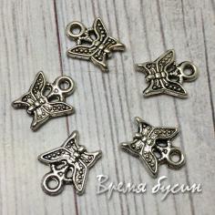 Бабочка, подвеска металлическая цв. серебро, 10х8мм (5 шт.)