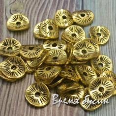 Разделители для бусин под золото, 8х8 мм (5 гр., ок. 13 шт.)
