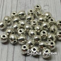 Разделители для бусин под серебро, 4 мм  (5 гр., ок. 18 шт.)
