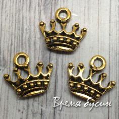 Корона. Подвеска металлическая, цв. золото, 1 х13 мм (1 шт.)
