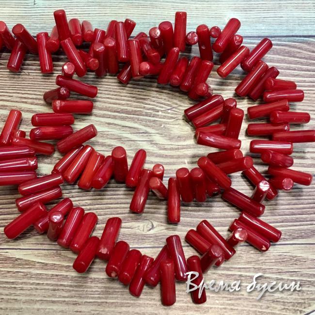 Коралл красный, бусины палочки, ок. 3х10 мм (1 шт.)