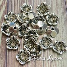 Шапочки для бусин, цв. серебро, 10х10 мм (5 гр., ок. 11 шт.)