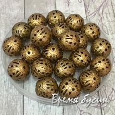 Бусины из филиграни, 12 мм, цвет медь (5 гр., ок. 7 шт.)