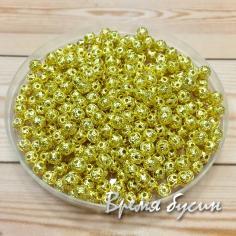 Бусины из филиграни, 4 мм, цвет золото (5 гр., ок. 100 шт.)