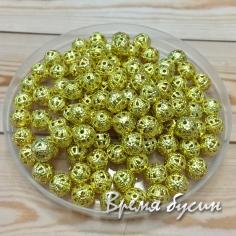 Бусины из филиграни, 6 мм, цвет золото (5 гр., ок. 35 шт.)