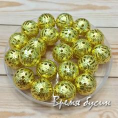 Бусины из филиграни, 12 мм, цвет золото (5 гр., ок. 7 шт.)