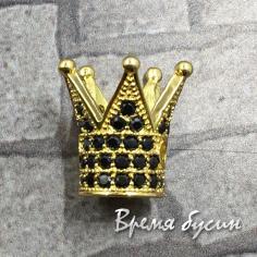 """Бусина """"Корона"""" с фианитами, латунь с позолотой (1 шт.)"""