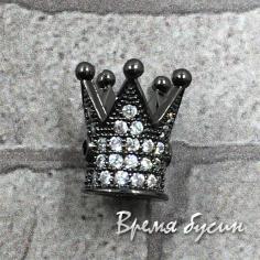 """Бусина """"Корона"""" с фианитами, латунь с черным родиевым покрытием (1 шт.)"""