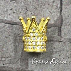 """Бусина """"Корона""""с фианитами, латунь с позолотой (1 шт.)"""