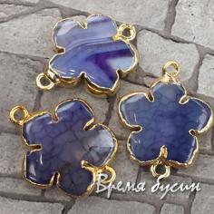 """Коннектор из агата """"Цветок"""", цв. фиолетовый  в металле под золото, в асс. (1 шт.)"""