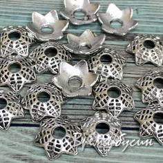 Шапочки для бусин 10 мм под серебро (5 гр., ок. 16 шт.)