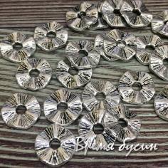 Разделители для бусин 10 мм, цв. серебро (5 гр., ок. 10 шт.)