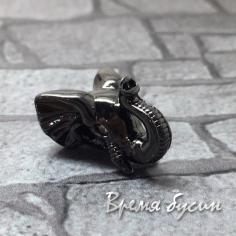 """Бусина """"Слон""""  с фианитами, латунь с черным родиевым покрытием, 12х14 мм  (1 шт.)"""