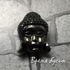 """Бусина """"Будда"""" с черн. фианитами, латунь с черн. род. покрытием, 11х15 мм  (1 шт.)"""