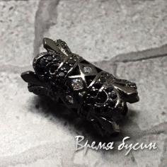 """Бусина """"Трубочка"""" с прозр. и чёрн. фианитами, латунь с черн. род. покрытием, 10х17 мм  (1 шт.)"""