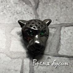 """Бусина """"Ягуар"""" с зелеными фианитами, латунь с черным родиевым покрытием, 10х11 мм  (1 шт.)"""