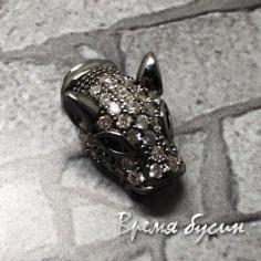 """Бусина """"Ягуар"""" из латуни с черным родиевым покрытием и цирконами, 10х16 мм (1 шт.)"""