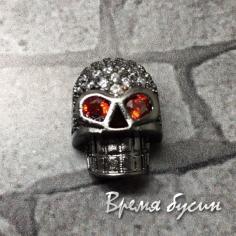 """Бусина """"Череп"""" с фианитами, латунь с черным родиевым покрытием, 9х12 мм  (1 шт.)"""