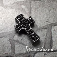 """Бусина """"Крестик"""" с чёрными фианитами, латунь с черным родиевым покрытием, 9х14 мм (1 шт.)"""