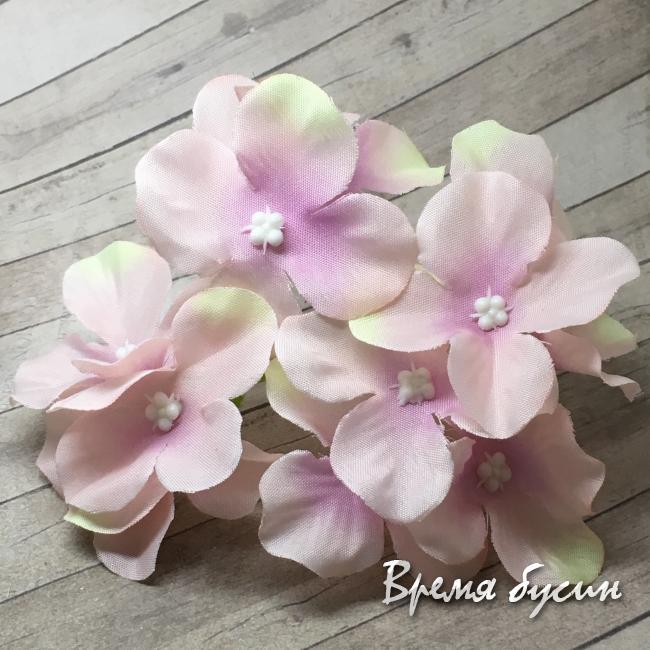 """Цветок из ткани """"Гортензия"""", ок. 100 мм., цв. розовый  (1 шт.)"""
