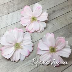 Цветок из ткани, 40 мм, цв. розовый   (1 шт.)
