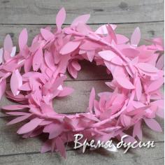 Проволока с листиками, цв. розовый (1 м.)