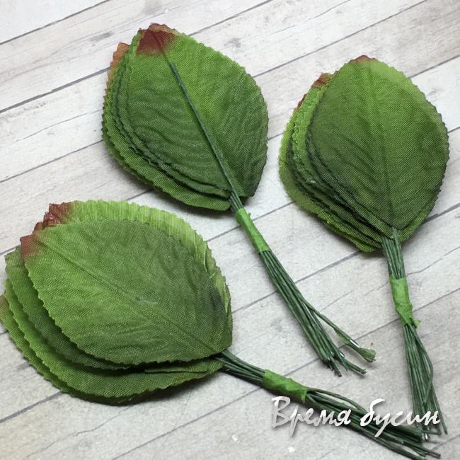Листик из ткани на проволоке, 40х60 мм., цв. зеленый (12 шт.)