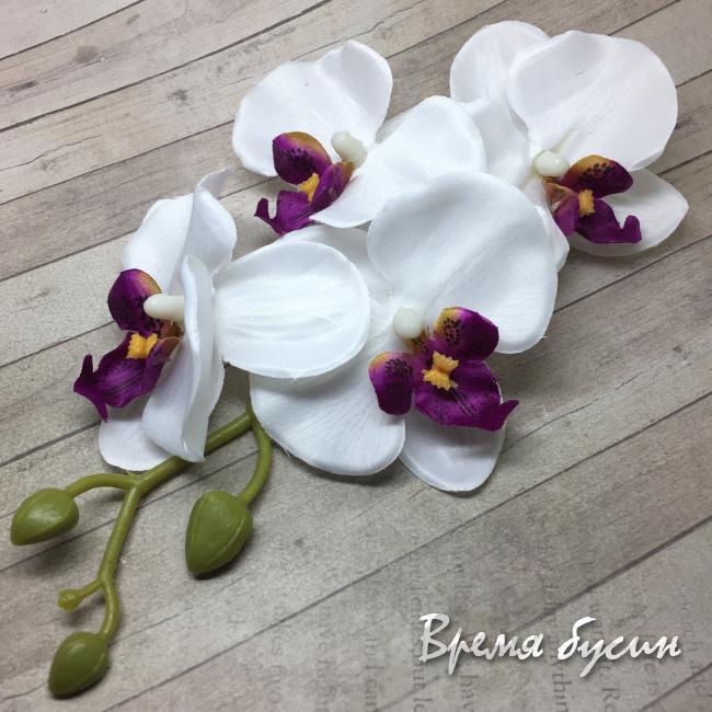 """Цветок из ткани """"Ветка орхидеи"""", 160 мм., цв.БЕЛЫЙ (1 шт.)"""