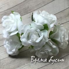 Цветы из ткани на проволоке, роза ок. 20 мм,  цв. белый  (6 шт.)