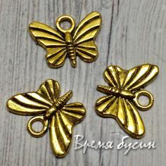 Бабочка, подвеска металлическая, цв. золото (1 шт.)