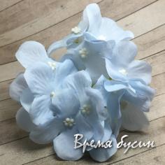 """Цветок из ткани """"Гортензия"""", ок. 100 мм., цв. голубой (1 шт.)"""