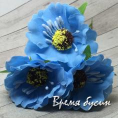 Цветы из ткани на проволоке, ок. 45 мм,  цв. голубой  (3 шт.)