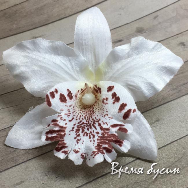 """Цветок из ткани """"Орхидея"""", 70 мм., цв.БЕЛЫЙ (1 шт.)"""