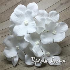 """Цветок из ткани """"Гортензия"""", ок. 100 мм., цв. белый (1 шт.)"""