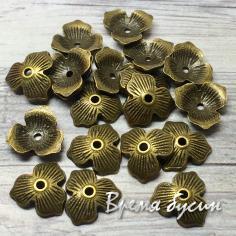 Шапочки для бусин 10 мм, цв. бронза (5 гр., ок. 11 шт.)